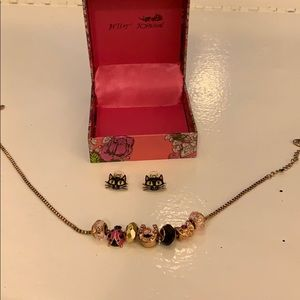 Betsey Johnson Charm Necklace and Kitty Earings